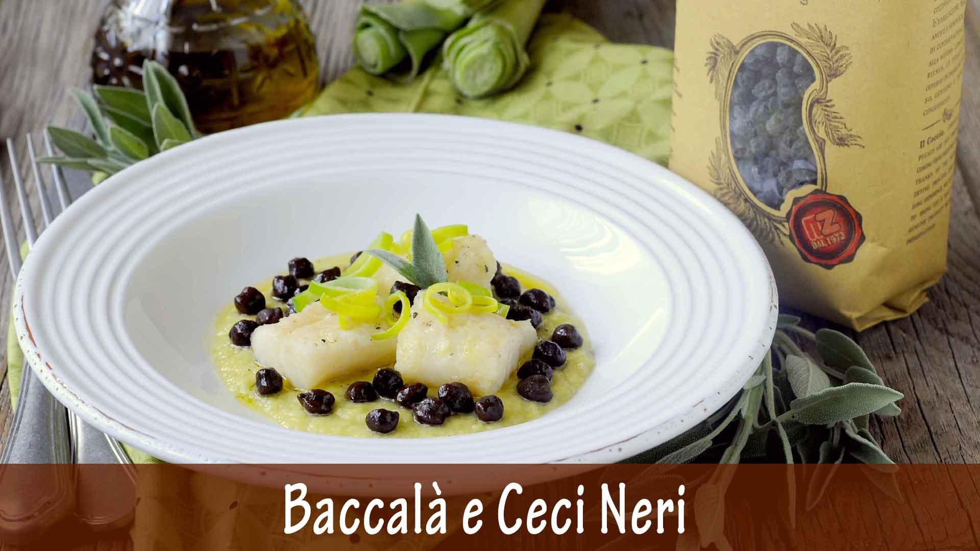 Baccalà e Ceci Neri su Crema di Porri